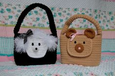 CROCHET PATTERN Girl Purse Animal Bear and door TooCuteCrochet, $5,99