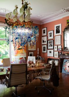 Eclectic dining room. Photo: IngaPowilleit  LOVE the chandy without the ship (would not fit with an 8' ceiling)