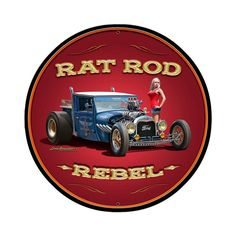 From the Larry Grossman licensed collection this Rat Rod Rebel round metal sign measures 28 inches by 28 inches and weighs in at 7 lb(s). This round metal sign is hand made in the USA using heavy gaug