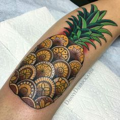 Pineapple tattoo by @dannyderrick at San Luis Tattoo Companyin San Luis Obispo CA #dannyderrick #sanluistattoocompany #sanluisobispo #california #pineappletattoo #pineapple #tattoo #tattoos #tattoosnob