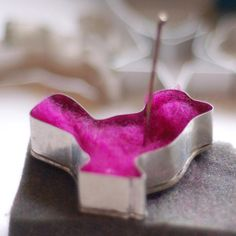 needle felting with cookie cutter