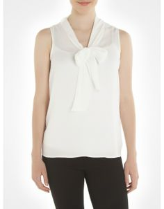 Sleeveless bow neck blouse (available in white and four other colours) from Jacob. #shirts #blouses #bows #vintage #style #fashion