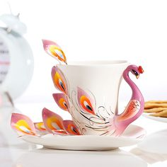 Beautiful Peacock coffee mug set