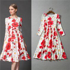 european style runway dress 2015 floral print silk brand dresses beautiful sunflower fashion knee length dress