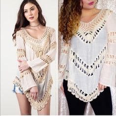 SALE Ivory/Beige Crochet Trail Blouse •Ivory/Beige NOT WHITE Tier Blouse •Crochet Trim Detail •Boho Style -Modeling size Small.  Hello! I'm Monika. I'm a Boutique Owner & an Entrepreneur Mentor. Welcome to my closet!   Let's keep in touch  Instagram: @monikarosesf YouTube: MonikaRoseSF Snapchat: itsmonikarose Monika Rose SF Tops Blouses