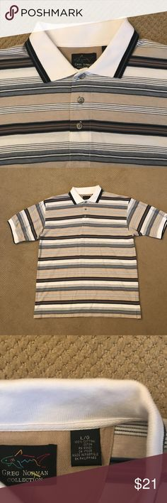 """Greg Norman cotton polo shirt Greg Norman brand cotton polo shirt.  No blemishes.   This shirt looks and wears like it is brand new. The measurement from back of collar to hem is 32"""" and measurement from armpit to armpit is 24."""" Greg Norman Shirts Polos"""