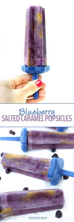 A delicious frozen treat for the summer! These Blueberry Salted Caramel Popsicles will blow your mind in flavor but they are also gluten-free, vegan and paleo too!