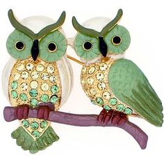 Green Couple Owl pin Swarovski Crystal Bird Pin Brooch Fantasyard. $23.59. Gift box available for an additional fee. Please check out through gift-wrap option. Other color available. Exquisitely detailed designer style. Save 21% Off!