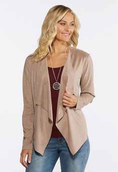 e180e889d1e39 Plus Size Draped Faux Suede JacketFall effortlessly into the season with  this super soft faux suede · Cato Fashion Plus SizeSuede JacketVest ...