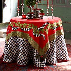 MacKenzie-Childs tablecloth >Love this White Christmas, Christmas Holidays, Christmas Crafts, Christmas Colors, Beautiful Christmas, Christmas Ideas, Merry Christmas, Christmas Table Settings, Christmas Tablescapes