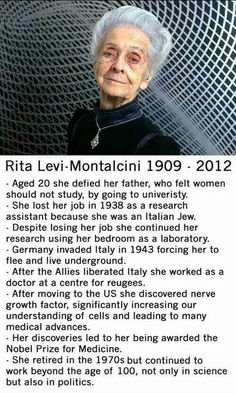 Rita Levi Montalcini, a great long life, a great woman… Literally My Idol! Good Woman, Great Women, Amazing Women, Inspirer Les Gens, The Meta Picture, Photo Images, Badass Women, Interesting History, Faith In Humanity