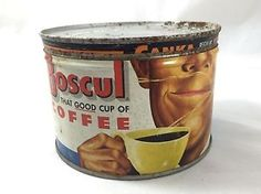 Vintage Boscul Coffee 1 lb Tin Can Canister w Lid Camden NJ RARE   eBay