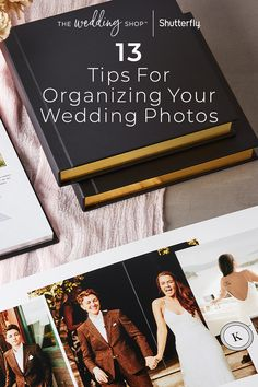 Make a wedding photo album that immediatetly brings you back to your special day. These 13 tips range from photo and album selection to organizational inspo and personalization ideas - all to help you create a wedding album that you and your spouse will love. Celtic Wedding, Gothic Wedding, Our Wedding, Wedding Dress, Wedding Photo Albums, Wedding Photos, Christmas Wedding Favors, Picture Arrangements, Wedding Photo Booth