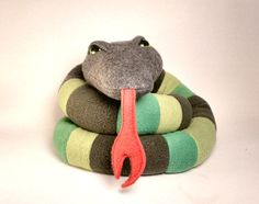 Stuffed Scrap Snake Plushie Large 4 Feet Long in by SaintAngel, $25.00