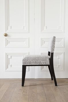 1940s style Dupre-Lafon inspired chair with charred then lacquered oak frame by Rupert Bevan's