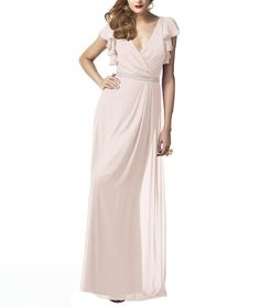 Discover the perfect bridesmaid dress Dessy Collection 2874 is a full length, V-neck bridesmaid dress with ruffle cap sleeve and matching belt at natural waist. Pink Bridesmaid Gowns, Mix Match Bridesmaids, Bridesmaid Dresses Online, Bridesmaid Dress Styles, Blush Dresses, A Line Gown, Gowns With Sleeves, Chiffon Gown, Alfred Sung