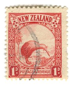 Kiwi postage stamp - old currency - 1 Penny ! Kiwi: overprinted 'Official', issued March 1936 New Zealand. Old Stamps, Rare Stamps, Vintage Stamps, Postage Stamp Design, Nz Art, Kiwiana, Mail Art, Stamp Collecting, New Zealand