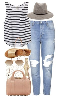 """""""Outfit with boyfriend jeans"""" by ferned ❤ liked on Polyvore featuring Topshop, Burberry, ASOS, Victoria's Secret PINK, Janessa Leone, Ray-Ban, Kaanas and Alexander Wang"""