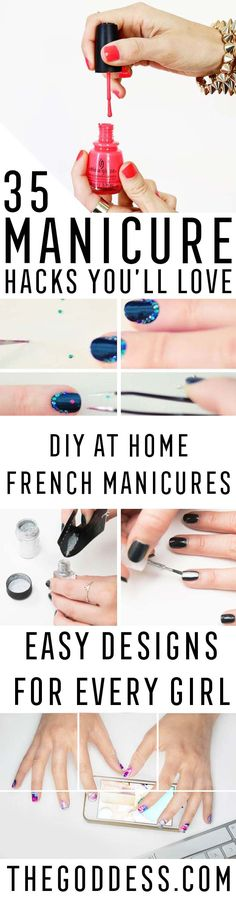 Manicure hacks for the perfect DIY manicure. Tricks and Tips for how to do your nails at home and get that salon quality manicure every time. Gel Manicure At Home, Pedicure At Home, Manicure Colors, Manicure Tips, Nails At Home, Diy Nails, Nail Tips, Nail Nail, Nail Polish