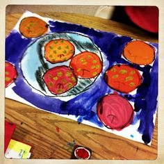 Cezanne inspired apples. Draw with pastel or crayon, then add watercolour or acrylic