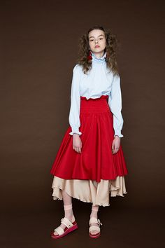 Red high waist long skirt | Layering | NON TOKYO 2016AW Collection Gallery13
