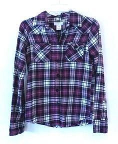 Womens O'Neill Long Sleeve Dress Shirt Size: S Purple Plaid Western Flannel Feel #ONeill #ButtonDownShirt #Career