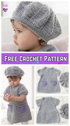 Crochet Beehive Baby Dress And Hat I Heart My Dress Set – FREE Pattern Häkeln Sie Bienenstock Baby Kleid und Hut I Heart My Dress Set – kostenlose Muster