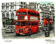 Stephen Wiltshire is an artist who draws detailed cityscapes, skylines and street scenes. Buy the original drawing of London Routemaster Bus (at the Strand) Bus Drawing, Stephen Wiltshire, London Painting, Bus Art, Routemaster, London Bus, City Landscape, Amazing Drawings, Kawaii