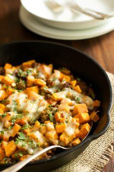 Ground Turkey Sweet Potato Skillet - Primavera Kitchen. no cheese, added beans and more spices.