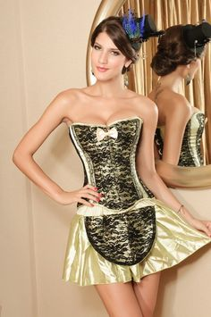 Soft Green and Black Overbust Corset. Corset Only unless otherwise stated. Corset Sizing Guide: (Waist size at the smallest part).