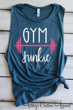 Workout Tanks For Women Gym Junkie Muscle Tanks Funny Gym Shirts Motivational Fitness Cute Fitness Tank Tops Funny Workout Shirt Custom Fit