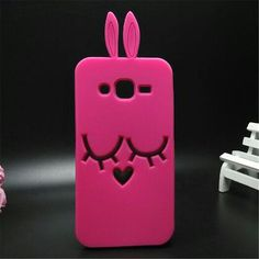 3D Cute Cartoon Animal shy rabbit Silicone phone case For Samsung Galaxy J2 J200 Cover