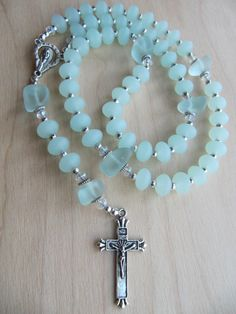 Unique Rosaries | Custom order for LeAnn ONLY - Aqua Sea Glass Catholic Rosary