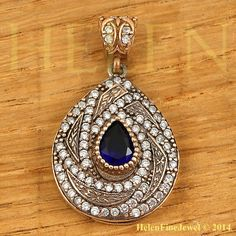 Hurrem Sultan Pendant  Drop Shape Sapphire Color Ottoman Silver Jewellery 925