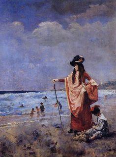 Alfred Stevens (1823-1906) - On the Beach