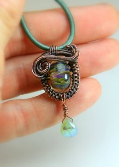 Copper Wire Weave and Lampwork Beaded  by AllowingArtDesigns, $42.00