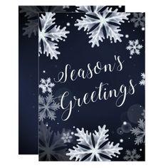 snowflakes seasons greetings Holiday card #christmas #xmas #holidays