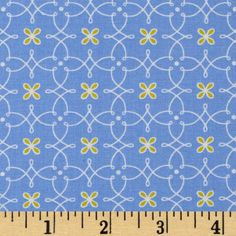 Michael Miller Helen's Garden Parterre Blue   Designed by Tamara Kate for Michael Miller Fabrics, LLC, this fabric is perfect for quilting, apparel and home décor accents.  Colors include yellow and lime on a blue background.