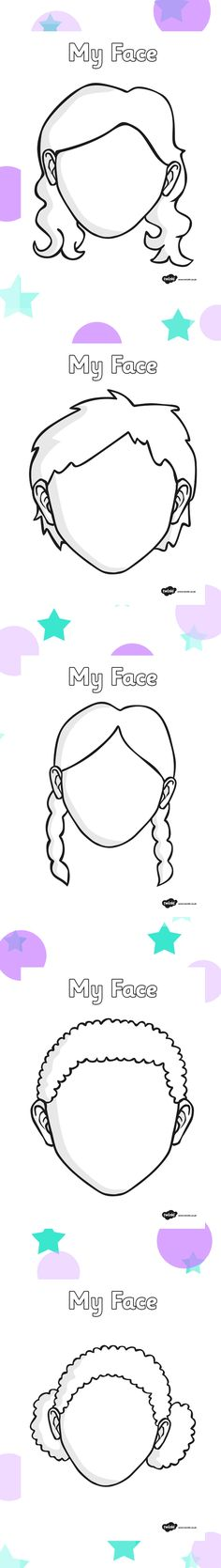 blank faces twinkl more - PIPicStats Science For Kids, Art For Kids, Crafts For Kids, All About Me Crafts, Face Template, Teaching Aids, Classroom Displays, Eyfs, Graphic Organizers