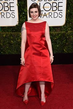 Golden Globes Red Carpet 2015 - Lena Dunham in Zac Posen