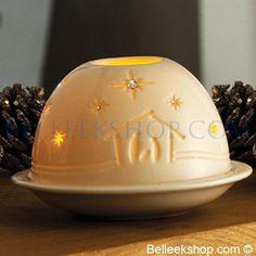 Belleek Nativity Dome Votive - Christmas Decorations