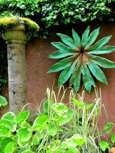 "Column and leaf in the ""old"" Little & Lewis garden, Bainbridge Island, WA"
