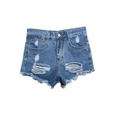 Blue High Waist Ripped Frayed Cuffs Denim Shorts ($25) ❤ liked on Polyvore featuring shorts, short, beautifulhalo, bottoms, high-waisted shorts, high waisted short shorts, jean shorts, short jean shorts and ripped denim shorts