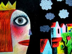 """""""The Princess and her garden"""" by Clive Hicks-Jenkins. From an animated accompaniment to Stravinsky's 'The Soldier's Tale' for the Hay Festival, 2013 Animation, Princess, Garden, Illustration, Artist, Artwork, Painting, Garten, Work Of Art"""