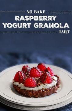 No Bake Raspberry Yogurt Granola Tart: #tart #yogurt #granola #tart #CloverSonoma #MilkCountry #LegenDairy #ad