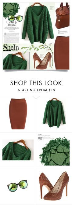 """Green Sweater"" by kiki-bi ❤ liked on Polyvore featuring Urban Decay and Nine West"