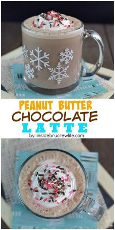 Chocolate and peanut butter and frothed milk makes this homemade latte the best way to do coffee!