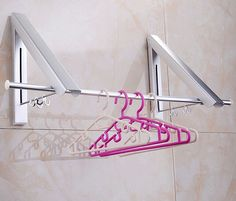 Captivating New Wall Mounted Space Double Aluminum Clothes Drying Hanger Foldable  Laundry Rack With Promotion Price