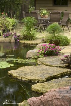 Beautiful backyards create additional living space on your property. Why not take your outdoor living space one step further by adding the soothing sights and sounds of water to the landscape? Small Water Features, Water Features In The Garden, Backyard Water Feature, Ponds Backyard, Pond Landscaping, Landscaping With Rocks, Building A Pond, Carpe Koi, Pond Fountains