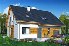Gotowe projekty domów - gwarancja najniższej ceny - EXTRADOM Ideas Para, House Plans, Shed, Exterior, Outdoor Structures, Mansions, House Styles, Design, Home Decor